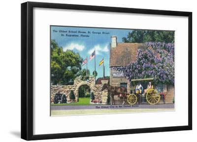 St. Augustine, Florida, Exterior View of the Oldest Schoolhouse, St. George Street-Lantern Press-Framed Art Print