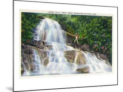 Great Smoky Mts National Park, TN, View of a Hiker Ascending Laurel Falls-Lantern Press-Mounted Art Print