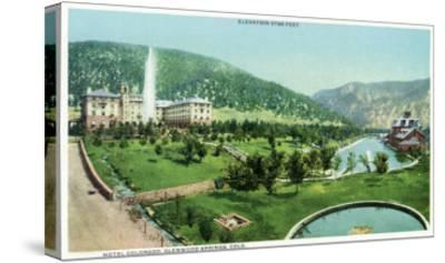 Glenwood Springs, Colorado, Panoramic View of the Hotel Colorado and Hot Springs-Lantern Press-Stretched Canvas Print
