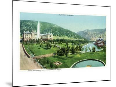 Glenwood Springs, Colorado, Panoramic View of the Hotel Colorado and Hot Springs-Lantern Press-Mounted Art Print