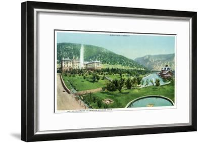 Glenwood Springs, Colorado, Panoramic View of the Hotel Colorado and Hot Springs-Lantern Press-Framed Art Print