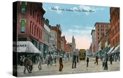Butte, Montana, Northern View of Main Street-Lantern Press-Stretched Canvas Print