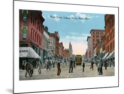 Butte, Montana, Northern View of Main Street-Lantern Press-Mounted Art Print