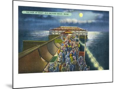 Old Orchard Beach, Maine, View of the Pier in the Moonlight-Lantern Press-Mounted Art Print