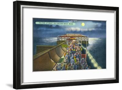 Old Orchard Beach, Maine, View of the Pier in the Moonlight-Lantern Press-Framed Art Print