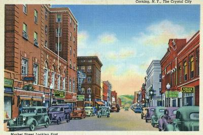 Corning, New York, Eastern View on Market Street of the Crystal City-Lantern Press-Stretched Canvas Print