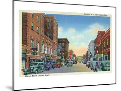 Corning, New York, Eastern View on Market Street of the Crystal City-Lantern Press-Mounted Art Print