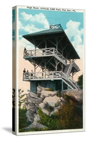 Pen Mar, Pennsylvania, View of High Rock and Tower-Lantern Press-Stretched Canvas Print