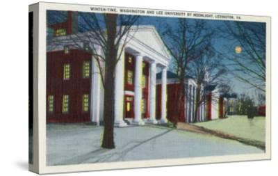Lexington, VA, Exterior View of Washington, Lee University at Night during Winter-Lantern Press-Stretched Canvas Print