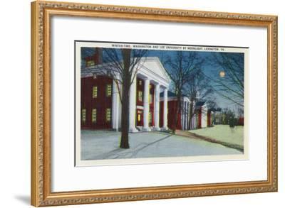 Lexington, VA, Exterior View of Washington, Lee University at Night during Winter-Lantern Press-Framed Art Print