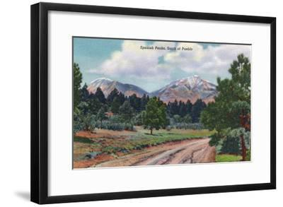 Colorado, View of the Spanish Peaks-Lantern Press-Framed Art Print
