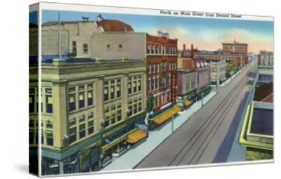 Pueblo, Colorado, Northern View down Main Street from Second Street-Lantern Press-Stretched Canvas Print