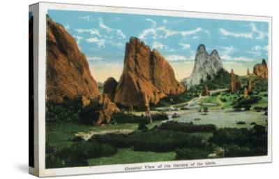 Colorado Springs, Colorado, General View of the Garden of the Gods-Lantern Press-Stretched Canvas Print