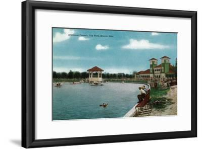 Denver, Colorado, City Park View of the Lake, Band Stand during an Afternoon Concert-Lantern Press-Framed Art Print