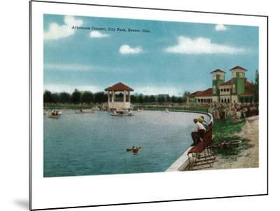 Denver, Colorado, City Park View of the Lake, Band Stand during an Afternoon Concert-Lantern Press-Mounted Art Print