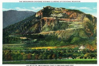 Colorado Springs, Colorado, View of Cheyenne Mountain and the Switchbacks-Lantern Press-Stretched Canvas Print