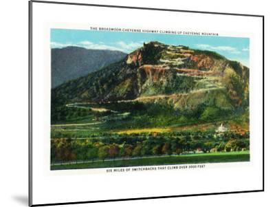 Colorado Springs, Colorado, View of Cheyenne Mountain and the Switchbacks-Lantern Press-Mounted Art Print