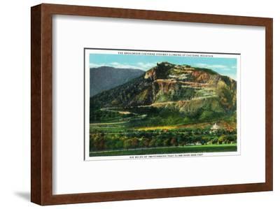 Colorado Springs, Colorado, View of Cheyenne Mountain and the Switchbacks-Lantern Press-Framed Art Print