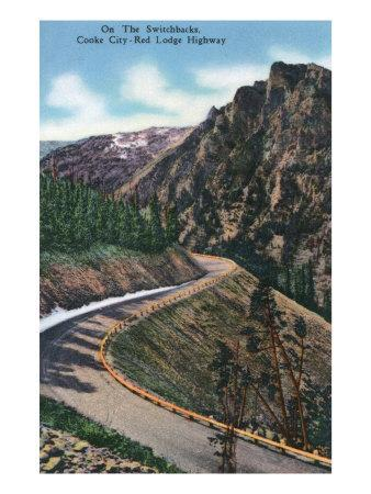 Montana, Scenic Drive along the Beartooth Mountains on the Beartooth Highway-Lantern Press-Framed Art Print