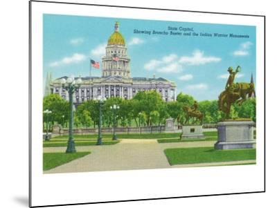 Denver, CO, State Capitol and Grounds, Bronco Buster and Indian Warrior Monuments View-Lantern Press-Mounted Art Print
