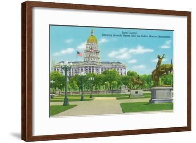 Denver, CO, State Capitol and Grounds, Bronco Buster and Indian Warrior Monuments View-Lantern Press-Framed Art Print