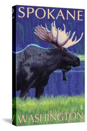 Spokane, Washington, Moose at Night-Lantern Press-Stretched Canvas Print