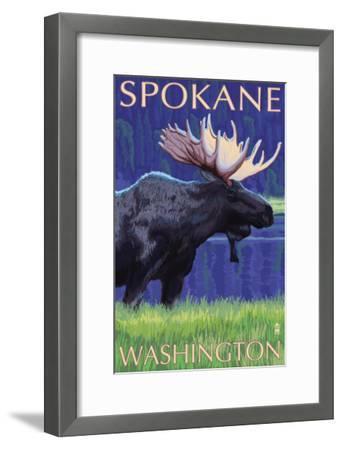Spokane, Washington, Moose at Night-Lantern Press-Framed Art Print