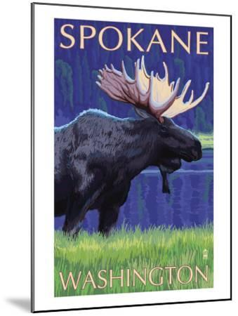 Spokane, Washington, Moose at Night-Lantern Press-Mounted Art Print