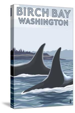 Birch Bay, Washington, Orca Fins-Lantern Press-Stretched Canvas Print