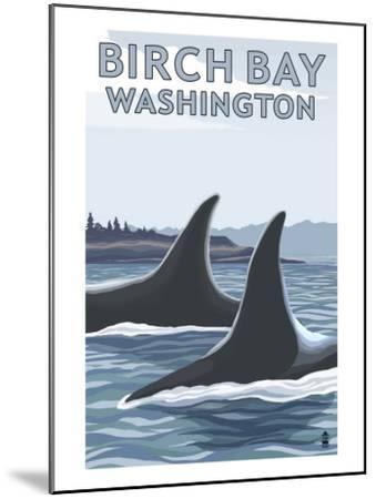 Birch Bay, Washington, Orca Fins-Lantern Press-Mounted Art Print