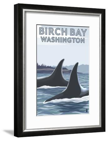 Birch Bay, Washington, Orca Fins-Lantern Press-Framed Art Print