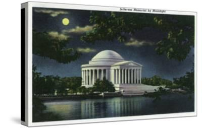 Washington DC, Exterior View of the Jefferson Memorial at Night-Lantern Press-Stretched Canvas Print