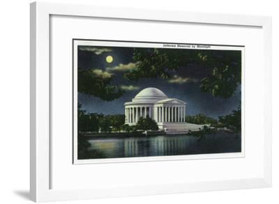 Washington DC, Exterior View of the Jefferson Memorial at Night-Lantern Press-Framed Art Print