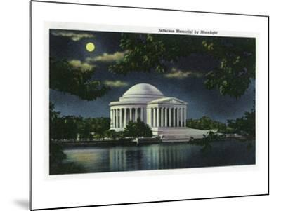 Washington DC, Exterior View of the Jefferson Memorial at Night-Lantern Press-Mounted Art Print
