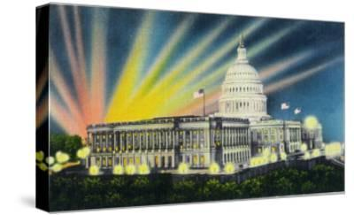 Washington DC, Exterior View of the US Capitol Building at Night-Lantern Press-Stretched Canvas Print