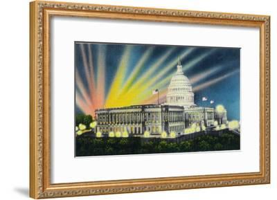 Washington DC, Exterior View of the US Capitol Building at Night-Lantern Press-Framed Art Print