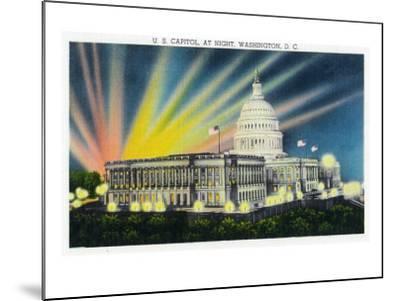Washington DC, Exterior View of the US Capitol Building at Night-Lantern Press-Mounted Art Print
