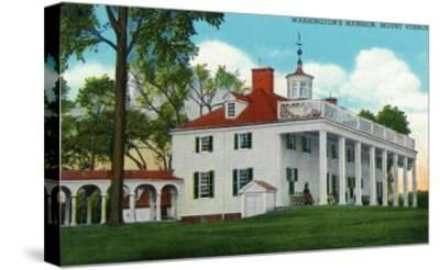 Mount Vernon, Virginia, Exterior View of the Washington Mansion from the Back Grounds-Lantern Press-Stretched Canvas Print