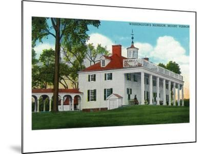 Mount Vernon, Virginia, Exterior View of the Washington Mansion from the Back Grounds-Lantern Press-Mounted Art Print
