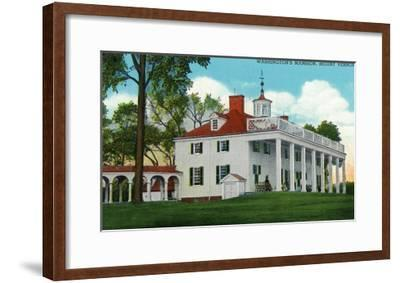 Mount Vernon, Virginia, Exterior View of the Washington Mansion from the Back Grounds-Lantern Press-Framed Art Print
