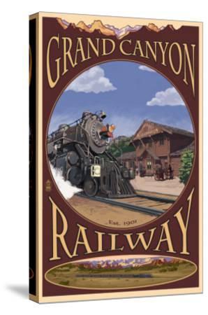 Grand Canyon National Park, Arizona, Grand Canyon Railway-Lantern Press-Stretched Canvas Print