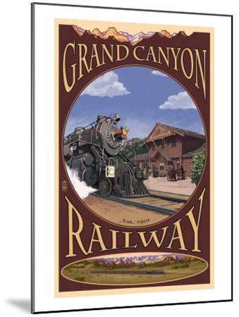 Grand Canyon National Park, Arizona, Grand Canyon Railway-Lantern Press-Mounted Art Print