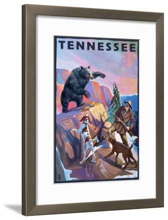 Tennessee, Bear Hunter with Dogs-Lantern Press-Framed Art Print