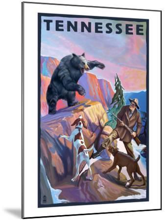 Tennessee, Bear Hunter with Dogs-Lantern Press-Mounted Art Print