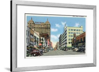 Buffalo, New York, View Down Main Street-Lantern Press-Framed Art Print