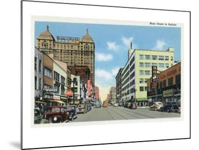 Buffalo, New York, View Down Main Street-Lantern Press-Mounted Art Print