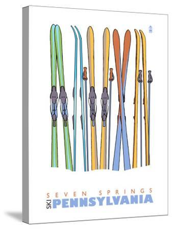 Seven Springs, Pennsylvania, Skis in the Snow-Lantern Press-Stretched Canvas Print