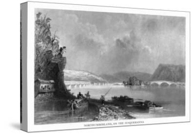 Northumberland, Pennsylvania, View of the Town from the Susquehanna River-Lantern Press-Stretched Canvas Print