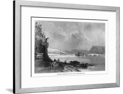 Northumberland, Pennsylvania, View of the Town from the Susquehanna River-Lantern Press-Framed Art Print