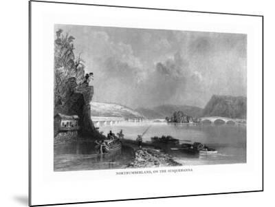 Northumberland, Pennsylvania, View of the Town from the Susquehanna River-Lantern Press-Mounted Art Print